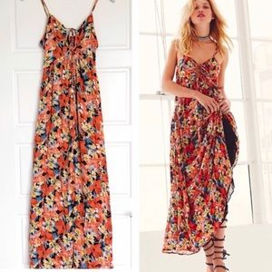 Free People Floral Keyhole Mulberry Maxi Dress NWT